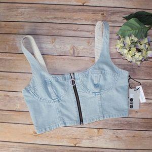 Jean crop top bralet